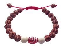 Tibetan Mala Rudraksha Wrist Mala/ Bracelet for Meditation (Agate Dzi Bead)