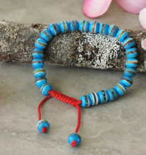 Tibetan Embedded Yak Bone Medicine Healing Wrist Mala for Meditation - Sky Blue