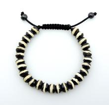 Tibetan Yak Bone Wrist mala Bracelet Yoga Healing Beads for Meditation (Black & White)