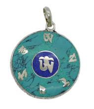 Handmade Tibetan Turquoise, Coral, Lapis Om Pendant from Nepal (Lapis Om Mani)