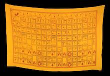 Handmade Yoga Pose Meditation Shawl/Scarf Cotton Scarf Tapestry, Wall Hanging, Wall Decor, Prayer Shawl (Yellow)