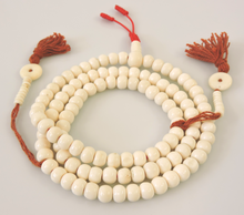 Hands Of Tibet Yak Bone Mala 108 Beads Necklace, Natural Himalaya Yak Bone Prayer Beads Wrist Mala Wrap Bracelet Yoga Healing for Meditation Many Choice (White Plain)