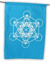 Sacred Geometry Rainbow Prayer Flags Positive Energy Shri Yantra, Flower of Life, Seed of Life, 6X8""