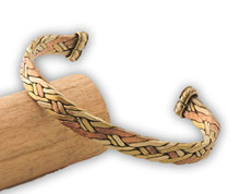 Handmade Three Metal Flat Braided Bracelet