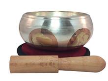 Tibetan Singing Bowl Silver Plated Eight Auspicious Symbol Singing Bowl