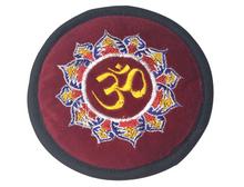 Handmade Tibetan Singing Bowl Embroidered Velvet Om Cushion