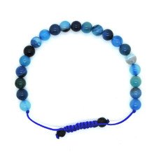 Hands of Tibet Blue Agate Wrist mala Yoga Beads Healing Bracelet for Meditation