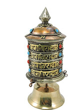 Handmade Tibetan Copper and Brass Om Mani Table Prayer Wheel From Nepal