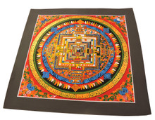 Handmade Kalachakra mandala Tibetan Thangka Painting From Nepal (Red)