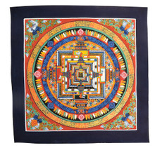 Handmade Kalachakra mandala Tibetan Thangka Painting From Nepal (Dark Red)
