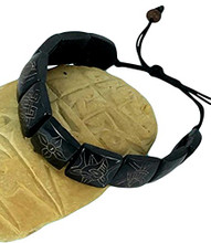 Carved Dark Yak Bone Bracelet with Eight Auspicious Symbols