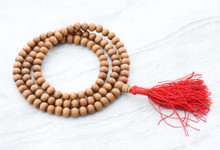 Tibetan Sandalwood mala with red Traditional Tassel for meditation