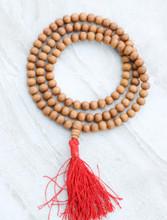 Tibetan Sandalwood mala with red Traditional Tassel for meditation