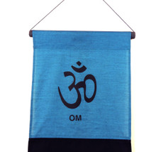 Large Cotton Om Inspirational Yoga Banner Scroll Style (Turquoise)