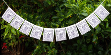 Buddha Of Compassion Mini Prayer Flags - Solid White