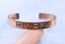 Mindful Copper Cuff Bracelet Handmade for men and women