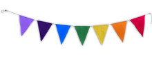 Blank Triangle Seven Chakra prayer flags Surged Edges Put Your Own Prayers 9X11