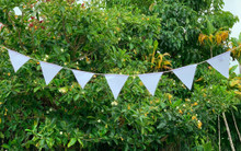"""Blank solid white Triangle Prayer Flags Surged Edges Put Your Own Prayers 6""""X6"""""""