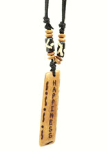 Handmade Happiness Message Bone Pendant For Men Or Women Boho Necklace