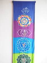 """Hand Batiked rainbow chakra banner wall hanging 72""""13.5"""""""
