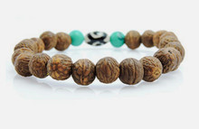 Tibetan Mala Raktu Seed Wrist Mala/ Bracelet with Turquoise and Dzi Bead for Meditation