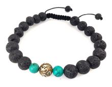 Handmade Lava Tibetan Wrist Mala/Bracelet for Meditation with Om Mani Padme Hum