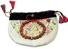 Hands Of Tibet Tibetan Mala Rudraksha Seed Wrist Mala Bracelet with Carved Om Mani Conch Shell Spacer Free Silk Pouch