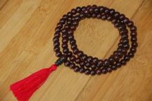 Tibetan 108 Bead Rosewood Mala - Red Tassel