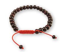 Rosewood Tibetan Wrist Mala Bracelet - Red String
