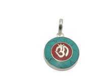 Coral Turquoise inlayed Om Pendant