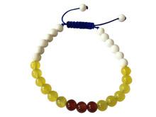 Small Conch Shell Yellow Jade and Carnelian Wrist Mala Yoga Bracelet