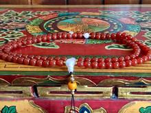 Sunset Fire Carnelian and Rose Quartz Tibetan 108 Bead Mala