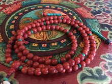 Coral 108 mala with Tibetan Turquoise counters