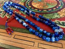 Wisdom of the Ocean Blue Agate 108 Bead Mala with Carnelian