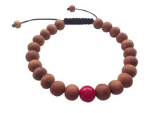 Wood Bead Wrist mala Bracelet with dyed coral spacer