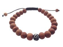 Wood Bead Wrist mala Bracelet with Om mani Bone spacer