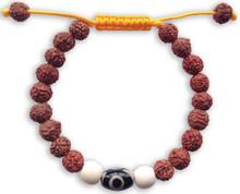 Rudraksha Tibetan Wrist Mala Bracelet with dZi Spacer