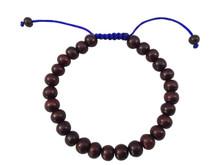 Tibetan mala Rosewood wrist mala bracelet with blue string