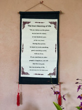 Dalai Lama Quote Cloth Scroll - TRUE MEANING OF LIFE Tibetan Wall Hanging