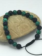 lava and Malachite Wrist mala Bracelet for meditation