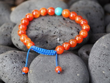 Carnelian Wrist Mala/ Yoga Bracelet Bracelet for Meditation with Turquoise Spacer