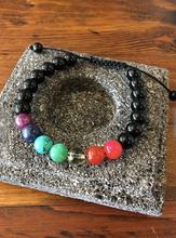 Seven Chakra and Black Onyx Wrist Mala Bracelet