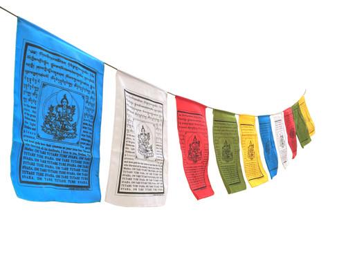 Large Handmade Tibetan Green Tara Prayer flags Tibetan with English Translation (9X12)