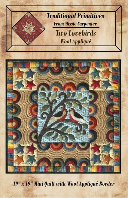 Two Lovebirds Wool Applique'