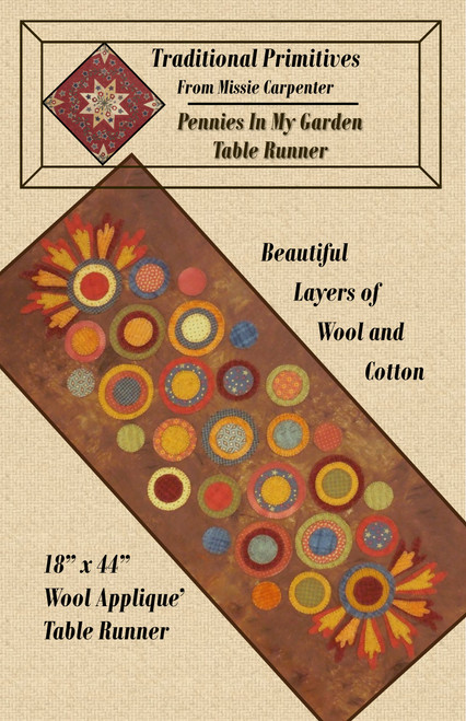Pennies In My Garden Table Runner Downloadable Pattern