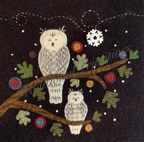 "Wooly Block Adventure, Sweet Snowy Owls finished as 8"" block."