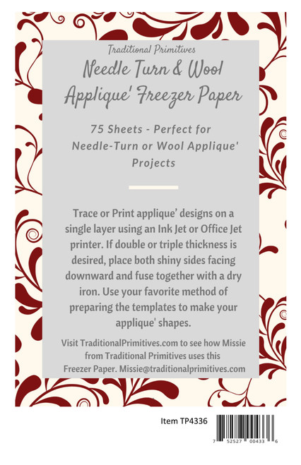 Needle Turn and Wool Applique' Freezer Paper