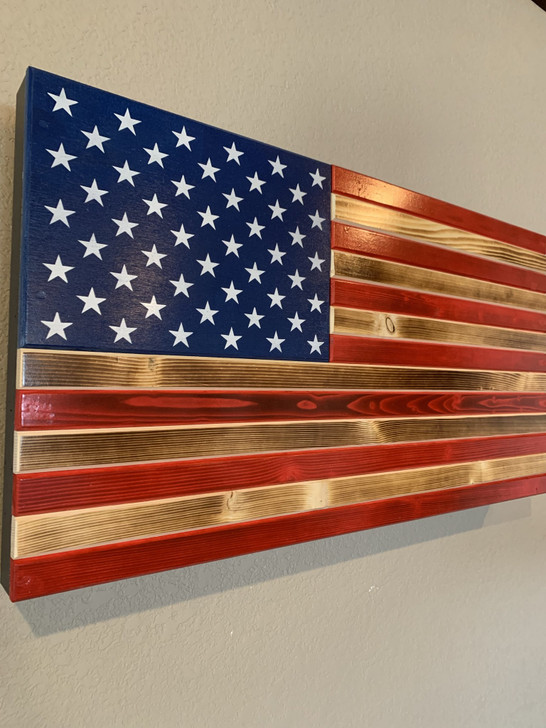 GLOSSY RED & BURNT AMERICAN FLAG