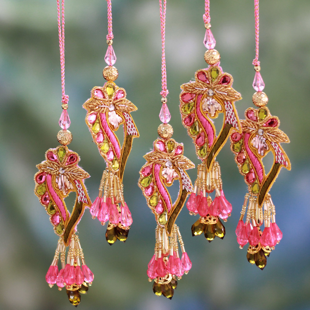 Beaded Christmas Ornaments.Handcrafted Hand Beaded Christmas Ornaments Set Of 5 Lavish Delhi