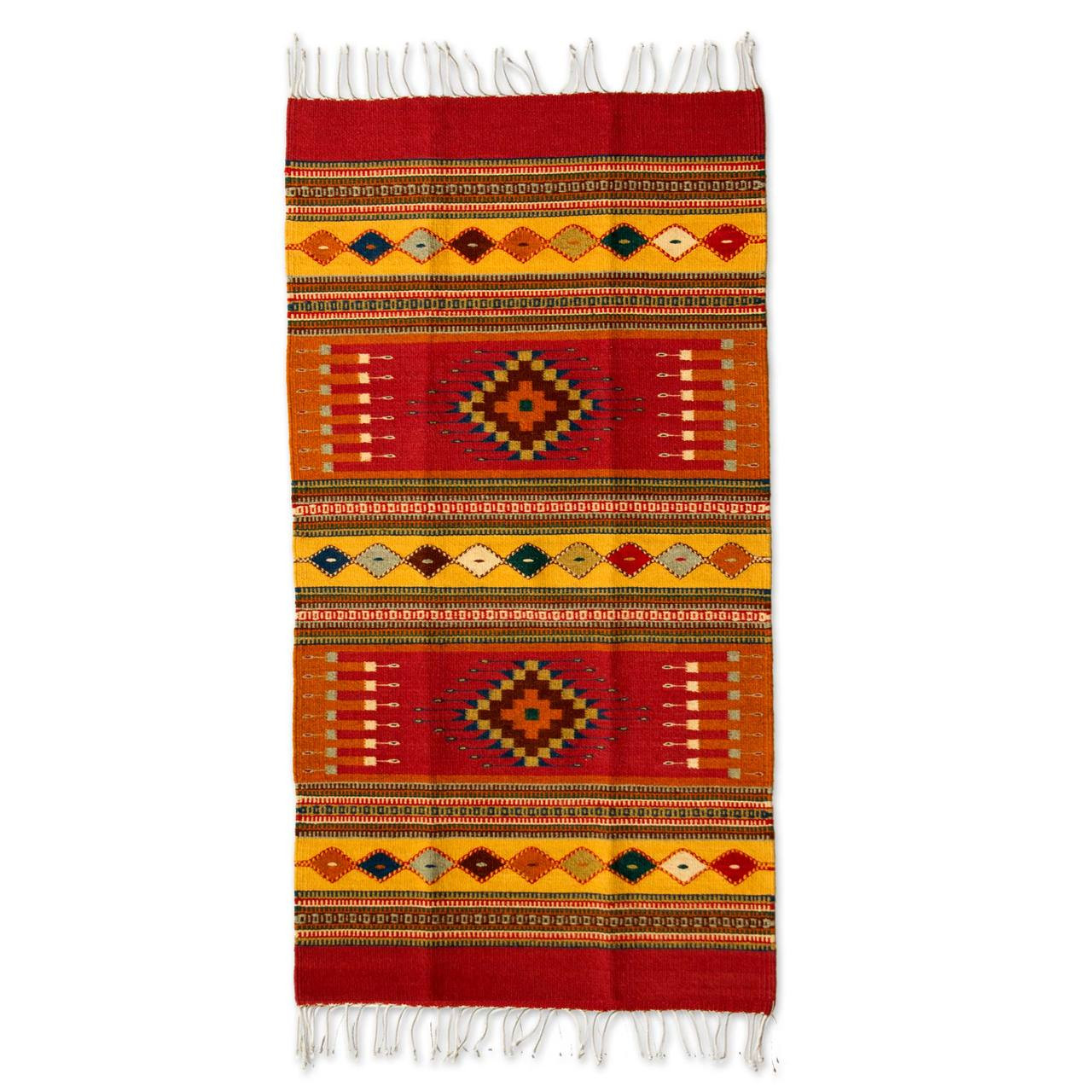 Handcrafted Zapotec Wool Accent Area Rug Red Mexican Chrysanthemum